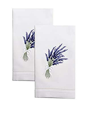 Henry Handwork Set of 2 Lavender Embroidered Hand Towels, White