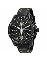 Seiko Sportura Chronograph Black Dial Black Mens Watch Snae97