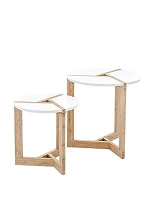 Contemporary Wood Beistelltisch 2er Set Varm