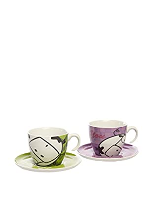 Tognana  Kaffeetasse mit Untertasse 2er Set Happy grün/lila