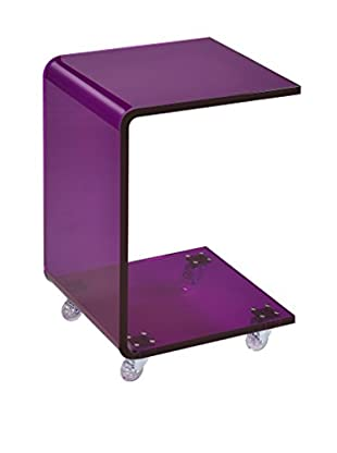 Fox Hill Trading Pure Décor Acrylic C-Shape Accent Table, Purple