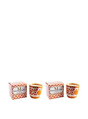 Market Street Candles Set of 2 Fig Scented Shanghai Lotus Candles, Orange
