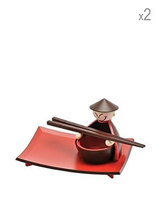 Enjoy Home  Sushi Set 8 tlg. rot/braun