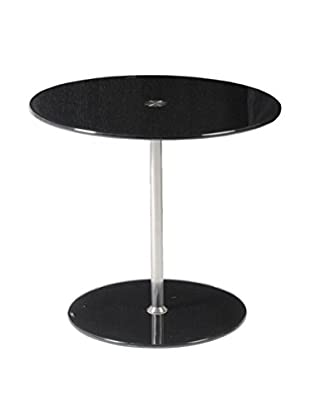 Eurostyle Raina Round Glass Table, Black
