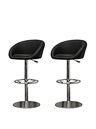 Baxton Studio Set of 2 Wynn Modern Bar Stools, Black