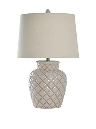 StyleCraft Ceramic 1-Light Table Lamp With Linen Drum Shade, Ceramic Grey