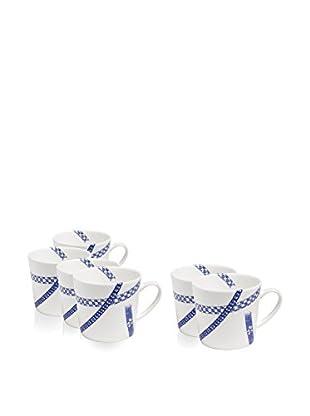 Elinno Runaway Ribbons Set of 6 Mugs, Blue