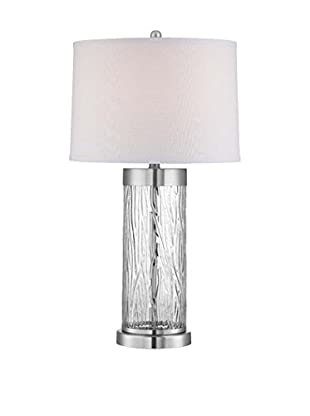 Lite Source Enrico Table Lamp with LED Night Light, Polished Steel/Clear/Off-White