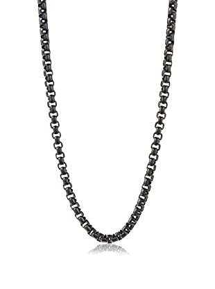 STEELTIME Black Stainless Steel Box Chain Necklace