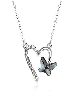 Absolute Crystals Conjunto de cadena y colgante Heart Butterfly Plateado