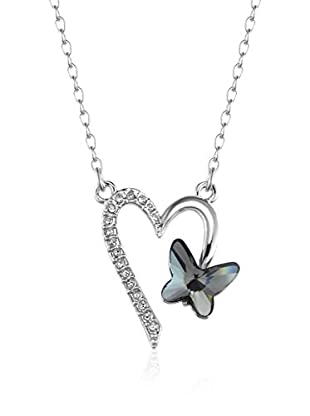 Absolute Crystals Set Kette und Anhänger Heart Butterfly silberfarben
