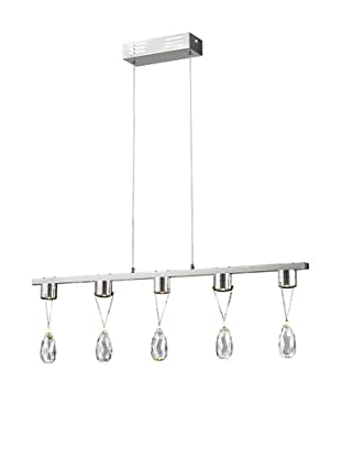 Bel Air Lighting Bejeweled 5-Crystal LED Drop Pendant, Polished Chrome
