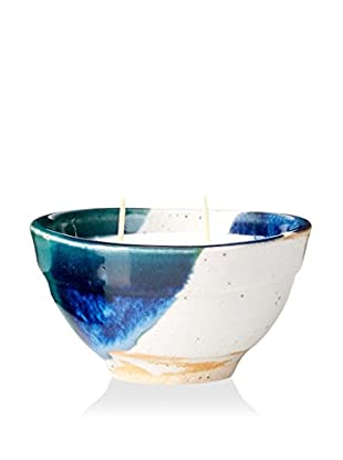 Yumscents 7-Oz. Soy Candle In Hand-Crafted Stoneware Pottery Bowl, Blue/Green/Gray