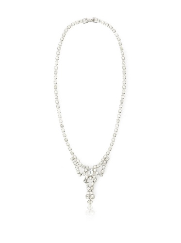 Lulu Frost 1920's Art Deco Crystal Drop Necklace, Silver