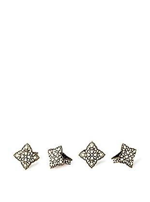 Saro Lifestyle Set of 4 Deco-Style Napkin Rings, Gold