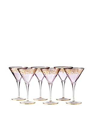 A Casa K Set of 6 Melodia Engraved Crystal Martini Glasses, Purple/Gold