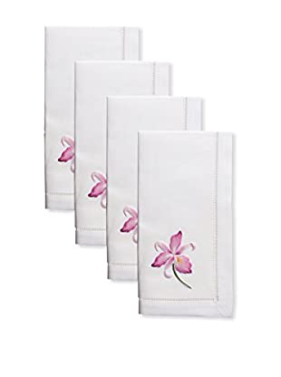 Henry Handwork Set of 4 Gala Orchid Embroidered Napkins, White