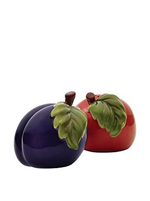 Bonjour Orchard Harvest Peach & Plum Salt & Pepper Shaker Set