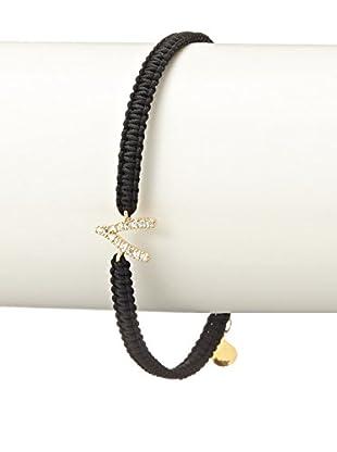 Tai CZ & 18K Gold Plated Wishbone Black Braided Bracelet