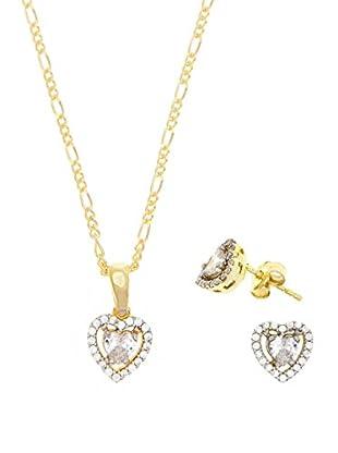 My Silver Conjunto de cadena, colgante y pendientes Heart Zirconium