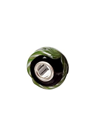 Bacio Abalorio de Plata de Ley 925  Murano Negro Rayas Verdes