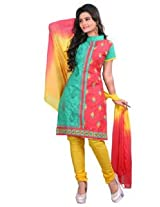 7 Colors Lifestyle Pink And Green Coloured Cotton Unstitched Churidar Material - ADBDR2211KI12