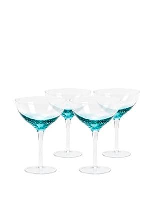 Nassau Martini Hand-Crafted Glass, Clear/Aqua, Set of 4