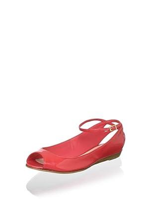 Delman Women's Fern Open-Toe Flat (Coral)