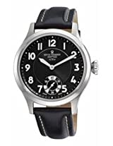 Revue Thommen Xlarge Airspeed Black Dial Black Leather Retro Mens Watch 16061.3537