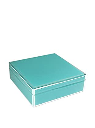 American Atelier Square Jewelry Box with Piping, Teal