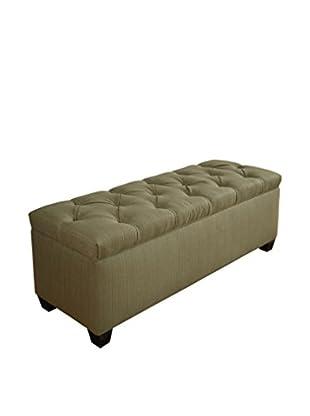 MJL Furniture Sole Secret Large Upholstered Shoe Storage Bench, Light Green