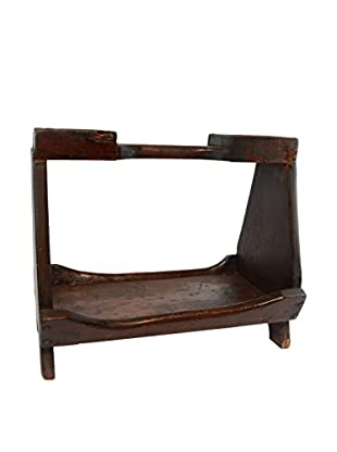 Vintage Handmade Magazine Rack, Dark Brown