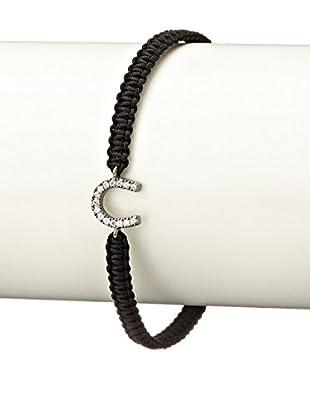 Tai CZ & Gunmetal Horseshoe Black Braided Bracelet
