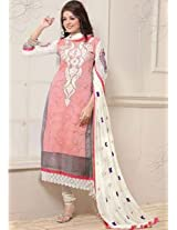 Saara White And Pink Embroidered Dress Material - 142D3042