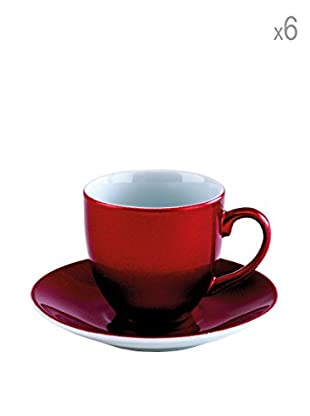 Tognana  Kaffeetasse mit Untertasse 6er Set Bellavis rot