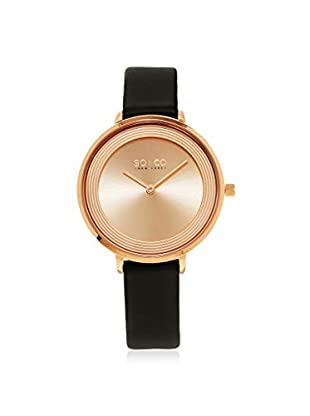SO&CO Women's 5204L.5 Madison Black/Rose Gold-Tone Leather Watch