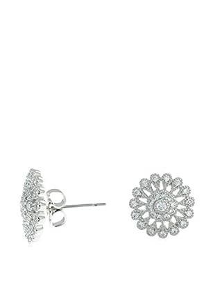 CZ by Kenneth Jay Lane Edwardian Flower CZ Stud Pave Classic Earrings