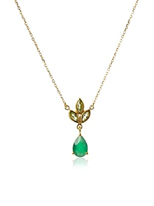 Eddera Jewelry Marquise Peridot/Green Onyx Necklace