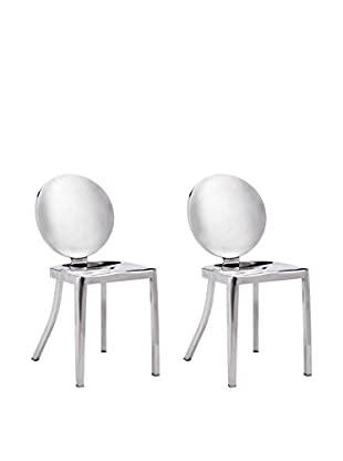 Zuo Set of 2 Autumn Chairs, Polished Stainless Steel
