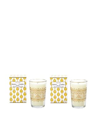 Market Street Candles Set of 2 Fig Scented Moroccan Lace Candles, Gold