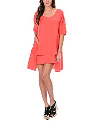 100% Lino Bleu Marine Kleid Gloria