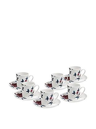 Elinno Rose Garden Set of 6 Espresso Cups & Saucers, Red/Grey