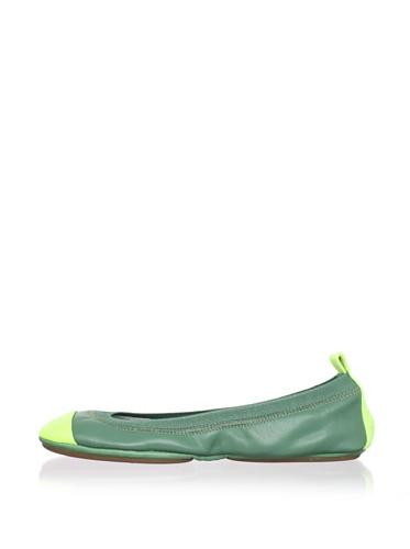 Yosi Samra Women's Two-Tone Ballet Flat (Kelly/Lime)