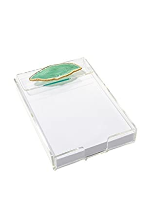 Mapleton Drive Green Agate & Acrylic Notepad Tray