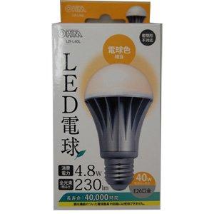 【クリックでお店のこの商品のページへ】オーム LED電球(全光束:230 lm/電球色相当) LB-L40L(04-7961)