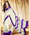 Aalya- Cream and Purple wonderful print saree