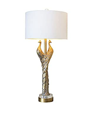 Couture Golden Peacock 1-Light Table Lamp, Opulent Gold/Optic Crystal