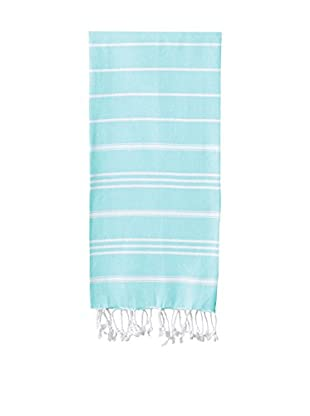 Nine Space Stripe Turkish Fouta Hand Towel, Aqua