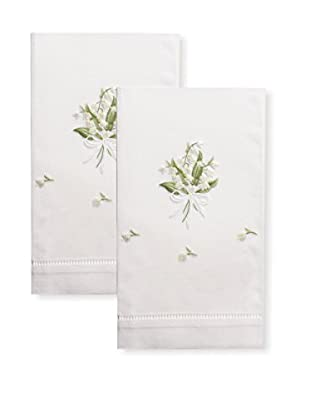 Henry Handwork Set of 2 Lily of the Valley Embroidered Hand Towels, White