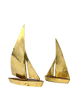 Uptown Down Previously Owned Set of 2 Mid-Century Brass Sailboat Sculptures